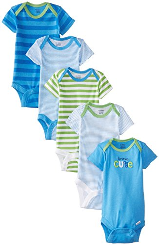 Gerber Baby-Boys Newborn 5 Pack Variety Onesie, Seriously Cute, 0-3 Months (Boys Diaper Shirt)