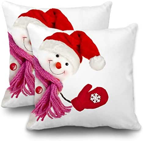Batmerry Set of 2 Merry Christmas Decorative Pillow Covers 18x18 inch,Red White Snowman with Top Hat Christmas Double Sided Throw Pillow Covers Sofa Cushion Cover