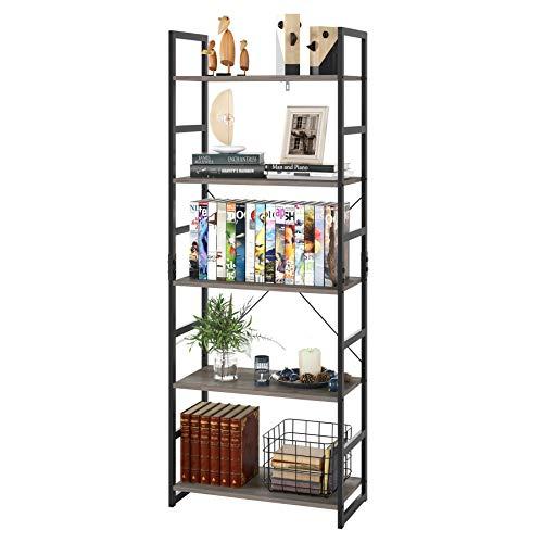 Homfa Bookshelf Rack 5 Tier Book Rack Bookcase Storage Organizer Modern Wood Look Accent Metal Frame Furniture Home Office, Vintage Gray