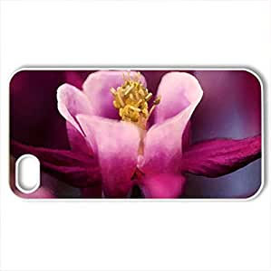Burgundy petals - Case Cover for iPhone 4 and 4s (Flowers Series, Watercolor style, White)