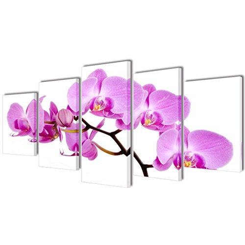 vidaXL Canvas Modern Home Wall Decor Art Painting Picture Print Framed Orchid 5pcs 39