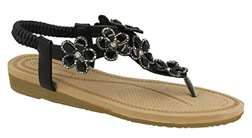 Savannah Women's Comfortable Jewelled Flower Trim Toe Post Sandals F00102 Black 1PQyP4Nd