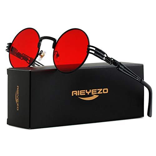 Round Steampunk Sunglasses John Lennon Hippie Glasses Metal Frame 100% UV Blocking Lens (Black/Ocean Red) (Retro Kreis-brille)