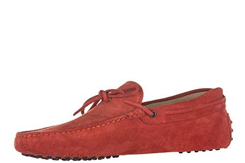 Tod's mocassins homme en daim laccetto occhielli gommini 122 rouge