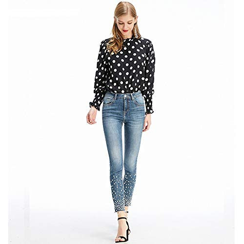 Femme M Taille Nagelleiste Sackleinenjeans Beinschiene Frhlingsmode Kleine Jeans Neue elastische Pearl MVGUIHZPO Jeans fT5q7Zw