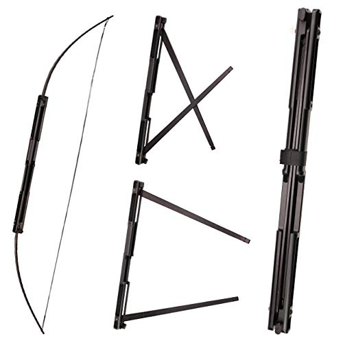 "SinoArt 59"" Folding Bow Black Alloy Archery Bow Right Hand for Hunting or Target (55Lbs)"