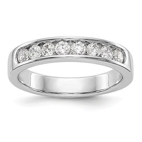 JewelrySuperMart Collection 1/2 CT 14K White Gold 8 Stone Diamond Channel Wedding Band. 0.472 - Shank Lockshank
