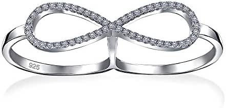 Bling Jewelry Pave CZ Statement Two Finger Sterling Silver Infinity Ring