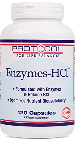 Protocol For Life Balance - Enzymes-HCl - Promotes Digestive Health, Formulated with Enzymes & Betaine HCI to Optimize Nutrient Bioavailability & Digestive Function - 120 Capsules