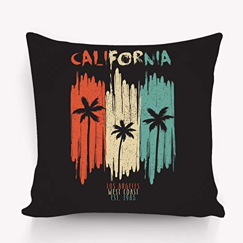 WiNjTyMOYO Throw Pillow Cushion Cover California Vintage Typography Palm Trees Grunge Los Angeles Original Apparel Design Summer Clothes Decorative Square Accent Pillow Case 18 X 18 inches]()