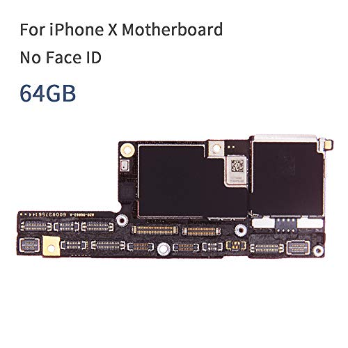 100% Original Motherboard for iPhone X Mainboard Factory Unlock No Face ID with Full Chips iOS System Logic Board Good Working (64GB No Face ID)