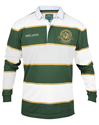 2007 Long Sleeve Jersey Team (CROKER Green and White Striped Rugby Jersey,Green,Small)