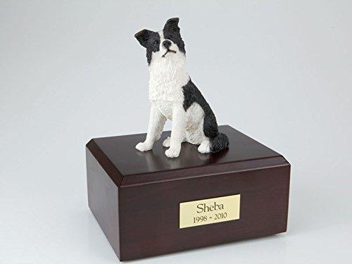 GENUINE North American Hardwood and Border Collie Figurine Urn Medium