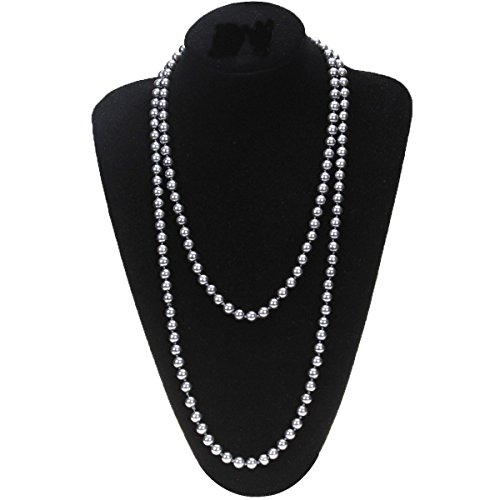 MeliMe Women's White Gray Simulated Pearl (8mm) Strands Necklaces Long Sweater Chain Pearl Bead Necklaces Wedding Party Jewelry, 61 Inches - Necklace Gray Pearl