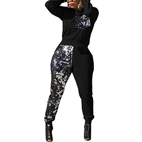 Womens Patchwork Sequin 2 Piece OutfitsBodycon Long Pants Jumpsuit Set Romper Clubwear