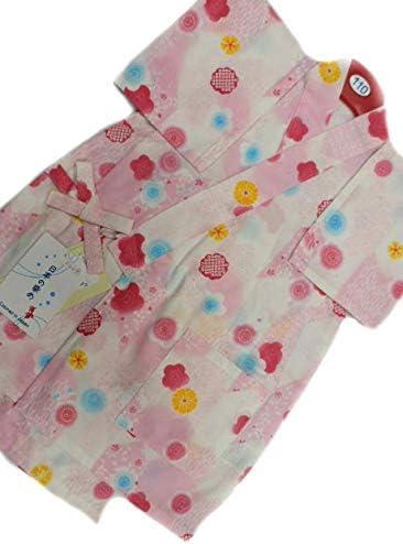 日本製 5~6歳用 女物 子供甚平 110サイズ ピンク地 小梅 小桜 柄 No.3147