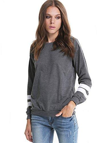 Sheinside® Women's Grey Contrast White Long Sleeve Loose Sweatshirt (One Size, Grey)