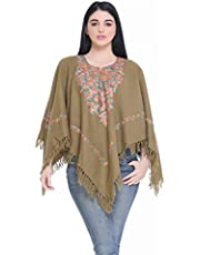 Indian Kashmiri Women's Poncho/Overcoat Hand Embroidery Paisley Work with Inner Lining (Free Size) Beige