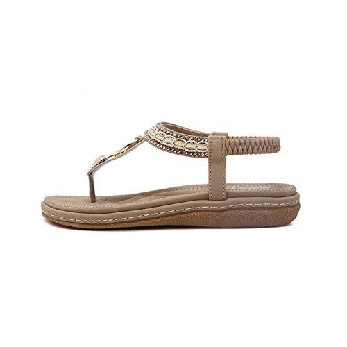 Bohemian Con DCRYWRX Piatta Da E Toe Sandali Cinturino Shoes Inferiore Con Con Sandali Donna Strass Piatto Dew Strap Punta Beige Elastico qrfwBHq7W