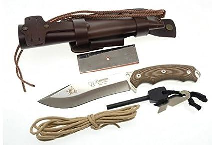 Cuchillo de supervivencia y caza Cudeman 125XC JJSK2 KIT Completo de color marrón, mango micarta marrón, uso deportivo, herramienta camping pesca, ...