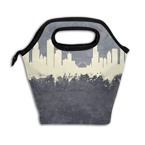 LUNCHGOGO Chicago Illinois Skyline Lunch Box Bag, Cool Insulated Cooler Ice Lunchbox Tote Bag Handbag for Men Women Adult Kids