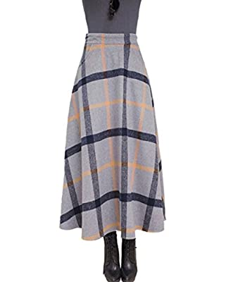 Femirah Women's Grey Plaid Woolen Skirt Long Maxi Winter Skirt
