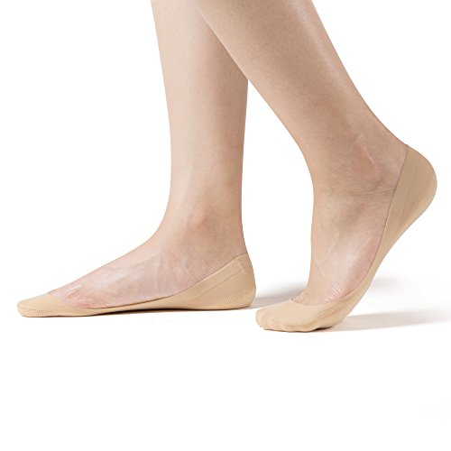 SHEEC SoleHugger Secret 2.0 Ultra-Low Cut - No Show Non Slip Women's Sock - Cream Large 4 Pairs