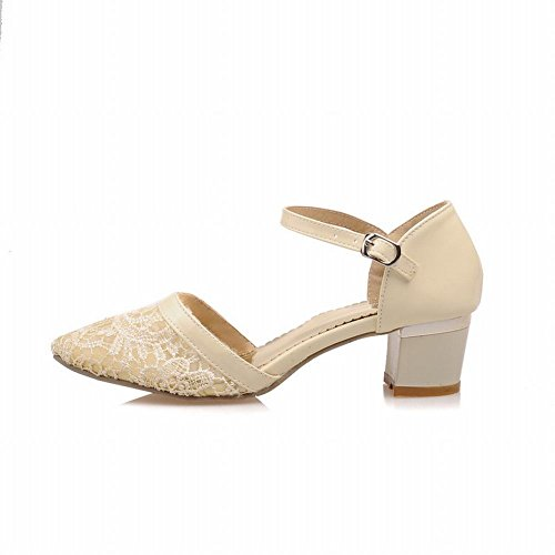 Mid Buckle Sandals Elegance Womens apricot Mesh Grace Chic Chunky Carol Heel Applique Voile Shoes AqB6H
