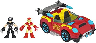 Marvel Super Hero Adventures Playskool Heroes Crime Cruising Car with Wolverine and Iron Man Set