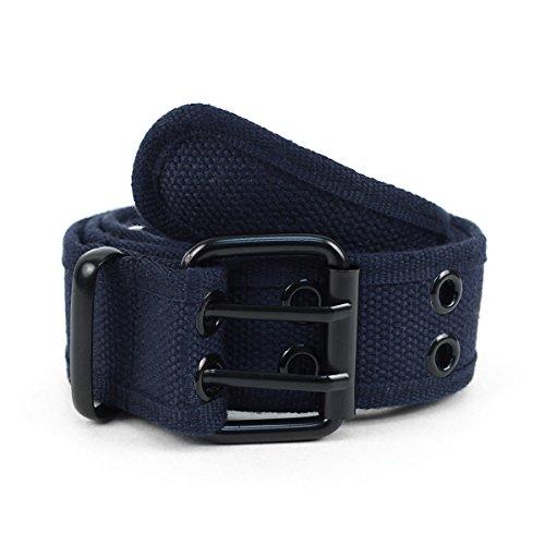 Casual Solid Color Double Hole Canvas Belt - Double Grommet Belt For Men & Women Unisex