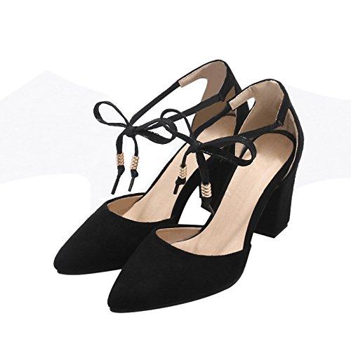 YE Damen Chunky High Heels Sandalen mit Blockabsatz Schnürung Geschlossen  Pumps 8cm Absatz Bequem Schuhe Schwarz ...