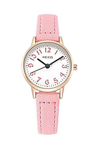 Kids Easy to Read Leather Wrist Watch Girls Analog Quartz Watch Pink (Pink Tag Watch)