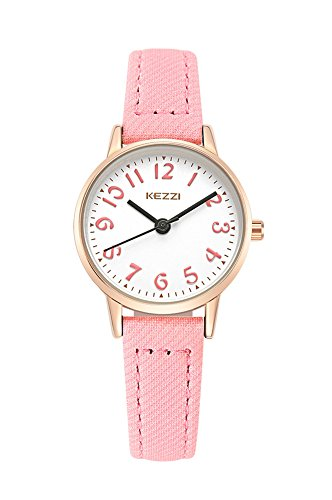 Kids Easy to Read Leather Wrist Watch Girls Analog Quartz Watch Pink