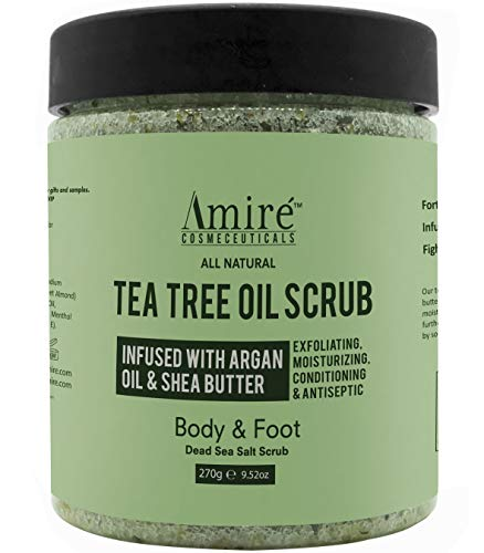 Pedicure Exfoliating Foot Scrub - Anti-Fungal Tea Tree Oil Exfoliating Body & Foot Scrub with Dead Sea Minerals | Best for Acne, Dandruff, Athlete's Foot | Infused with Argan Oil & Shea Butter to Moisturize - 12oz