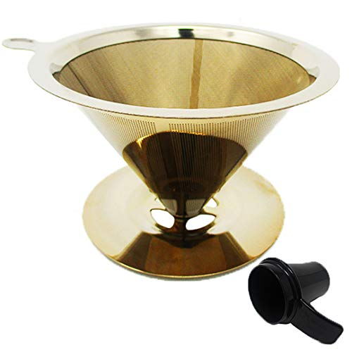 GOLDTONE Pour Over Coffee Maker Paperless Filter Reusable Stainless Steel Dripper includes 1 OZ Coffee Scoop - GOLD (8-12 Cup)