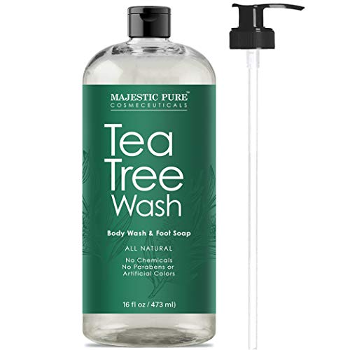 Tea Tree Body Wash, Helps Nail Fungus, Athletes Foot, Ringworms, Jock Itch, Acne, Eczema & Body Odor, Soothes Itching & Promotes Healthy Feet, Skin and Nails, Naturally Scented, 16 fl. oz. ()