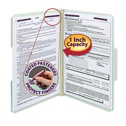 Smead Pressboard Fastener Folder with SafeSHIELD Fasteners, 2 Fasteners, 1/3-Cut Tab, 1