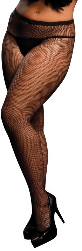 Seven Til Midnight Women's Plus-Size Fishnet Pantyhose, Black, Queen Size (Plus Size Fishnet Stocking With Lace Top)