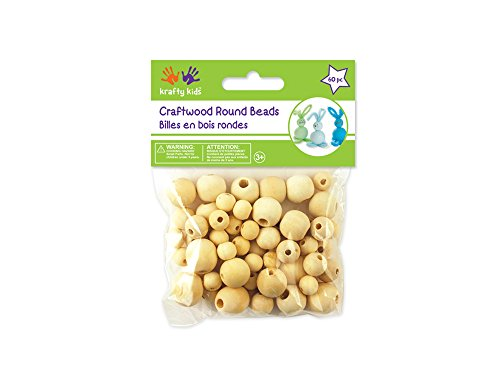 Craftwood Round Beads Assorted 10-16mm 60/Pkg-Natural