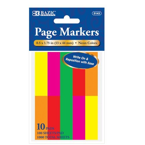 BAZIC 100 Ct. 0.5'' X 1.75'' Neon Page Marker (10/Pack), Case Pack of 144