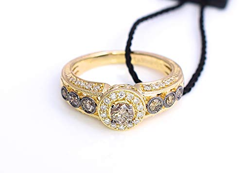LeVian Ring Chocolate Vanilla Diamonds Filigree Bezel set Engagement 14K Yellow Gold Size 7 ()