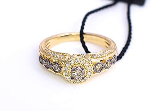 LeVian Ring Chocolate Vanilla Diamonds Filigree Bezel set Engagement 14K Yellow Gold Size 7