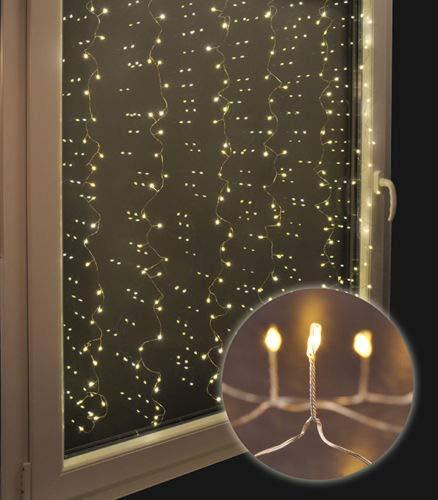 LED Vorhang Lichtervorhang warmweiß 240 Mini-LED auf Kupferdraht leuchtende Fensterdekoration