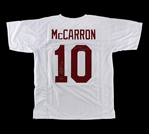 AJ McCarron Autographed/Signed Alabama Custom White Jersey with