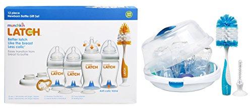 Munchkin Latch Newborn Bottle 12 Piece Gift Set with Steam Sterilizer