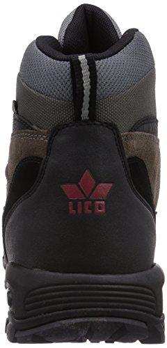 Lico Milan 220068 - Zapatillas de senderismo de ante para hombre Negro (Schwarz/grau/rot)
