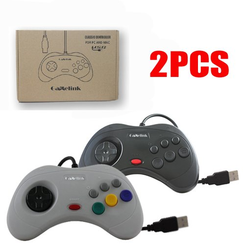 Childhood Gamelink Classic USB PC Controller Gamepad for Sega Saturn Style PC MAC 1 Black 1 Gray
