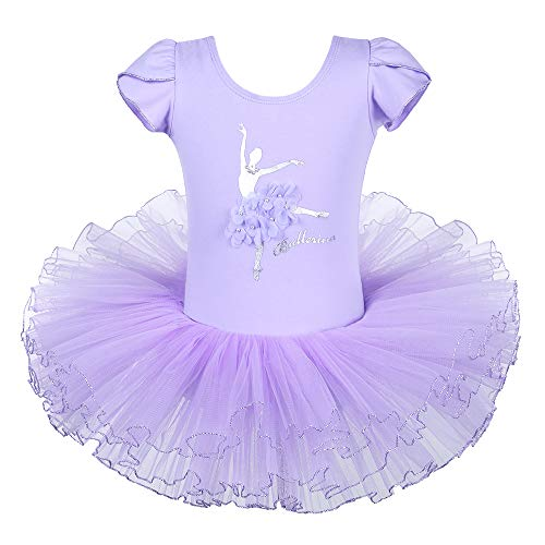 BAOHULU Leotard for Girls Ballet Dance Short Sleeve Full TulleTutu Skirted Dress Ballerina Costumes (6-7 Years(Tag No.XXL), Lilac) -