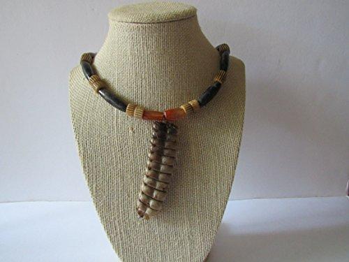 Rattlesnake Rattle Buffalo Bone Labradorite/Carnelian Gemstone Pendant Necklace Jewelry Boho Burning Man N285