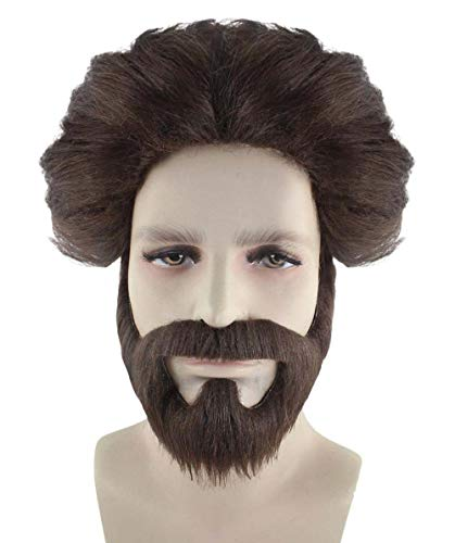 Halloween Party Online Hangover Alan Wig & Moustaches, Brown Adult -